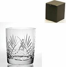 Cut Kristall, Whisky Glas mit Fischer