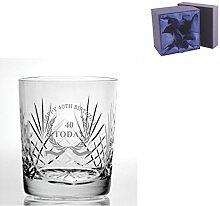 Cut Kristall, Whisky Glas mit Happy 40th Birthday