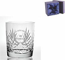Cut Kristall, Whisky Glas mit Happy 80. Geburtstag