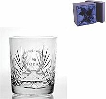 Cut Kristall, Whisky Glas mit Happy 90th Birthday