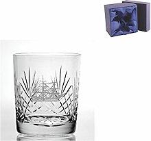 Cut Kristall, Whisky Glas mit HMS Victory