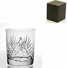 Cut Kristall, Whisky Glas mit Radfahrer
