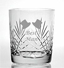 Cut Kristall Whisky Glas mit Steinware Best Man