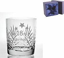 Cut Kristall Whisky Glas mit Steinware Happy 18th