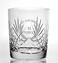 Cut Kristall Whisky Glas mit Steinware Happy 21.