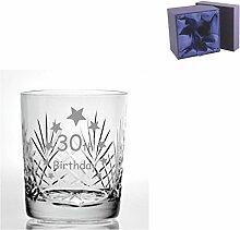 Cut Kristall Whisky Glas mit Steinware Happy 30.
