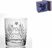 Cut Kristall Whisky Glas mit Steinware Happy 70.