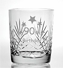 Cut Kristall Whisky Glas mit Steinware Happy 90th