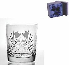Cut Kristall Whisky Glas mit Steinware Vater der