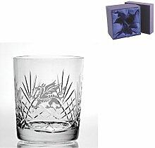 Cut Kristall, Whisky Glas mit walisischer Drachen