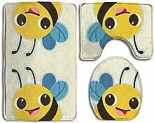Cute Bee 3-teiliger Badteppich-Set-Badteppich,