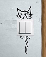 Cute Cartoon Kitty Cat Baby Pet Lichtschalter Funny Love Herz Vinyl Decor Home Live Kids Funny Art Wand Aufkleber Aufkleber