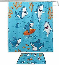 Cute Cartoon Surf Sharks Koralle Unterwasser