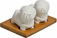 Cute & klein weiß Pfefferstreuer Möpse, Keramik–perfekte Dekoration Küche, keramik, weiß, 12 x 12 x 9 cm