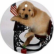 Cute Schule Puppy Ornament rund Porzellan