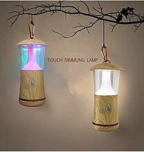 CuZiLe USB nachladbare LED hölzerne Korn Lampen Schreibtisch Noten verdunkelnlampe DJ Lampe für Partei Schlafzimmer kampierende Lampe (Mehrfarben)