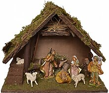 CV Weihnachtskrippe Holz mit Figuren 9-TLG MELCHOR