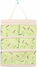 CWAIXX Einfache Stoff Baumwolle Oxford Tuch Taschen mehrschichtigen finishing Wand Veranstalter Abstellkammer hinter der Tür hängen, Eine Vielzahl von optionalen, Queen Grüne Kirschen