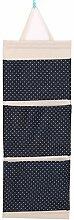 CWAIXX Einfache Stoff Baumwolle Oxford Tuch Taschen mehrschichtigen finishing Wand Veranstalter Abstellkammer hinter der Tür hängen, Eine Vielzahl von optionalen, Trompete Navy Blau Wellen