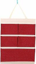 CWAIXX Einfache Stoff Baumwolle Oxford Tuch Taschen mehrschichtigen finishing Wand Veranstalter Abstellkammer hinter der Tür hängen, Eine Vielzahl von optionalen, Queen Rote Welle