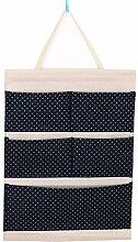 CWAIXX Einfache Stoff Baumwolle Oxford Tuch Taschen mehrschichtigen finishing Wand Veranstalter Abstellkammer hinter der Tür hängen, Eine Vielzahl von optionalen, Queen Navy Blau Wellen