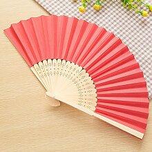 CWAIXX Sommer Mini Falten Fan tragbaren Ventilator für den täglichen für Männer und Frauen Studenten ein leeres Blatt Papier Fan Fans Bambus Faltung verwenden, Ro