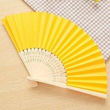 CWAIXX Sommer Mini Falten Fan tragbaren Ventilator für den täglichen für Männer und Frauen Studenten ein leeres Blatt Papier Fan Fans Bambus Faltung verwenden, Gelb