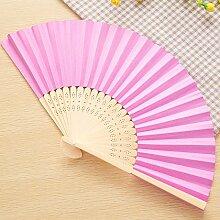 CWAIXX Sommer Mini Falten Fan tragbaren Ventilator für den täglichen für Männer und Frauen Studenten ein leeres Blatt Papier Fan Fans Bambus Faltung verwenden, Rose ro