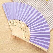 CWAIXX Sommer Mini Falten Fan tragbaren Ventilator für den täglichen für Männer und Frauen Studenten ein leeres Blatt Papier Fan Fans Bambus Faltung verwenden , Lila