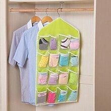 CWAIXX Tasche transparent Aufbewahrungstasche hängende Garderobe 16 Schränke unter Einbeziehung hängt an der Wand hinter der Tür wandhängende Aufbewahrungsbeutel 16 78 * 42 CM Grün