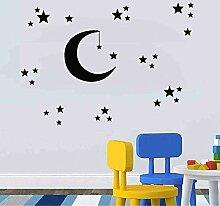 Cyalla Nachthimmel Wandaufkleber Sterne Mond