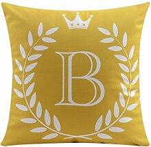 CYALZ 26 Englische Buchstaben (B) Muster Gelb Couch Kissen Büro Nap Hold Kissen Auto Kissen Nachttisch Sofa Upscale Kissen Schützen Sie die Taille Kissen Back Pad (Dieses Produkt nur verkaufen Kissen) 55 * 55cm