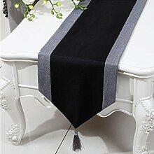 CYALZ Balck Grau Streifen Tuch Tischläufer Modern Einfache Mode Upscale Wohnzimmer Küche Restaurant Hotel Heimtextilien (Dieses Produkt verkauft nur Tischläufer) 33 * 150cm