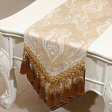 CYALZ Beige Blumenmuster Tuch Tischläufer Tischdecke Couchtisch Tuch Lang Tischdecke Modern Einfache Mode Upscale Wohnzimmer Küche Restaurant Hotel Heimtextilien (Dieses Produkt verkauft nur Tischläufer) 33 * 180cm