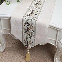 CYALZ Beige Blumenmuster Tuch Tischläufer Tischdecke Couchtisch Tuch Lang Tischdecke Modern Einfache Mode Upscale Wohnzimmer Küche Restaurant Hotel Heimtextilien (Dieses Produkt verkauft nur Tischläufer) 33 * 200cm