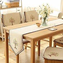 CYALZ Beige Blumenmuster Tuch Tischläufer