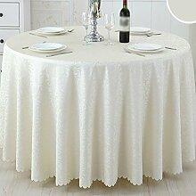 CYALZ Beige Streifen Blumenmuster Stoff Tischdecke weich modern einfach Mode Upscale Wohnzimmer Küche Restaurant Hotel Heimtextilien (Dieses Produkt verkauft nur Tischtücher) Durchmesser 180cm