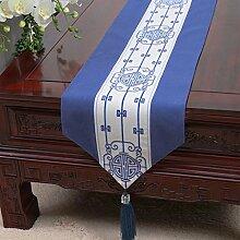 CYALZ Blau Weiß Blume Muster Tuch Tischläufer Tischdecke Couchtisch Tuch Lang Tischdecke Modern Einfache Mode Upscale Wohnzimmer Küche Restaurant Hotel Heimtextilien (Dieses Produkt verkauft nur Tischläufer) 33 * 150cm