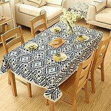 CYALZ Blau Weiß Leinen Tischdecke Blumenmuster Rechteck Soft Modern Einfache Mode Upscale Tischdecke Gemütliches Restaurant Wohnzimmer Wohnzimmer Balkon Küche Hotel Couchtisch Teetisch Esstisch Geschirr Heimtextilien (Dieses Produkt verkauft nur Tischtücher) 140 * 180cm