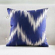 CYALZ Blaues abstraktes Muster Couch Kissen Büro Nap Hold Kissen Auto Kissen Bedside Sofa Upscale Kissen Schützen Sie die Taille Kissen Back Pad (Dieses Produkt nur verkaufen Kissen) 53 * 53cm