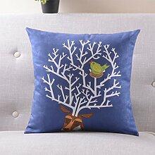 CYALZ Blaues Blumenmuster Couch Kissen Büro Nap Hold Kissen Auto Kissen Nachttisch Sofa Upscale Kissen Schützen Sie die Taille Kissen Back Pad (Dieses Produkt nur verkaufen Kissen) 55 * 55cm