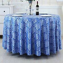 CYALZ Blaues Blumenmuster Tuch Tischdecke Weich Modern Einfache Mode Upscale Wohnzimmer Küche Restaurant Hotel Heimtextilien (Dieses Produkt verkauft nur Tischtücher) Durchmesser 260cm