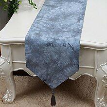 CYALZ Blaues Blumenmuster Tuch Tischläufer Modern Einfache Mode Upscale Wohnzimmer Küche Restaurant Hotel Heimtextilien (Dieses Produkt verkauft nur Tischläufer) 33 * 150cm