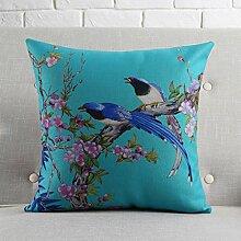 CYALZ Blue Birdie Blumenmuster Couch Kissen Office Nap Hold Kissen Auto Kissen Bedside Sofa Upscale Kissen Schützen Sie die Taille Kissen Back Pad (Dieses Produkt nur verkaufen Kissen) 45 * 45cm