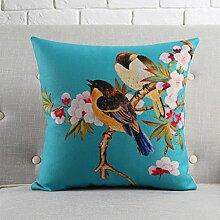 CYALZ Blue Birdie Blumenmuster Couch Kissen Office Nap Hold Kissen Auto Kissen Bedside Sofa Upscale Kissen Schützen Sie die Taille Kissen Back Pad (Dieses Produkt nur verkaufen Kissen) 53 * 53cm