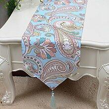 CYALZ Blue Brown Blumenmuster Tuch Tischläufer Modern Einfache Mode Upscale Wohnzimmer Küche Restaurant Hotel Heimtextilien (Dieses Produkt verkauft nur Tischläufer) 33 * 200cm