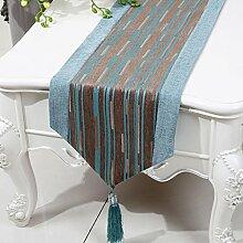 CYALZ Blue Brown Stripe Tuch Tischläufer Modern Simple Fashion Upscale Wohnzimmer Küche Restaurant Hotel Heimtextilien (Dieses Produkt verkauft nur Tischläufer) 33 * 230cm