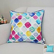 CYALZ Blue Color Gitter Blumenmuster Couch Kissen Office Nap Hold Kissen Auto Kissen Bedside Sofa Upscale Kissen Schützen Sie die Taille Kissen Back Pad (Dieses Produkt nur verkaufen Kissen) 50 * 50cm