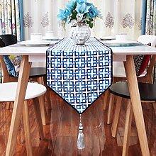 CYALZ Blue Lattice Stripe Tischläufer Tischdecke Couchtisch Tuch Lang Tischdecke Modern Einfache Mode Upscale Wohnzimmer Küche Restaurant Hotel Heimtextilien (Dieses Produkt verkauft nur Tischläufer) 32 * 200cm
