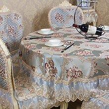 CYALZ Blue Silk Tischdecke Blumenmuster Circular Soft Modern Einfache Mode Upscale Tischdecke Gemütliches Restaurant Wohnzimmer Wohnzimmer Balkon Küche Hotel Couchtisch Teetisch Esstisch Tischgeschirr Heimtextilien (Dieses Produkt verkauft nur Tischtücher) Durchmesser 200cm